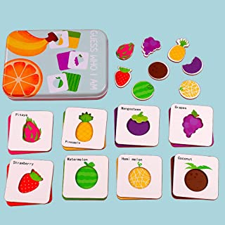 Wooden Cartoon Cognition Puzzle Matching Game Puzzle Card Toy Early Childhood Fun Matching Puzzle (Fruit)