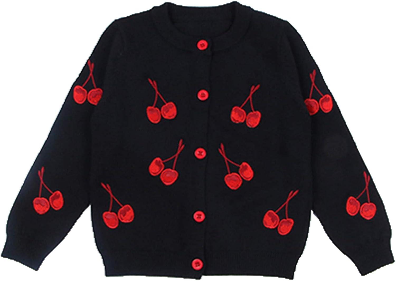Yiqinyuan Baby Girls Knit Coat Cardigan Sweater Cotton O-Neck Cherry Pattern Children Cute Clothing Kids Knitwear Sweaters