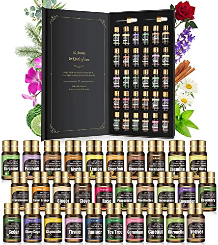 Ätherische Öle Set - 30 Düfte x 5ml - Einsteigerin Rein Öle Natürliche - duftöl, ätherische Öle für diffuser - Aromatherapie, Massage,Entspannung, Seifenherstellung,Kerzenherstellung