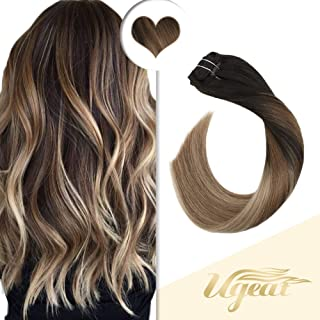 Ugeat 16inch Straight Remy Clip in Human Hair Extensions Balayage Ombre Color #2 Fading to #6 Brown with #12 Blonde 10PCS 120Gram Thick Clip on Hair Extensions