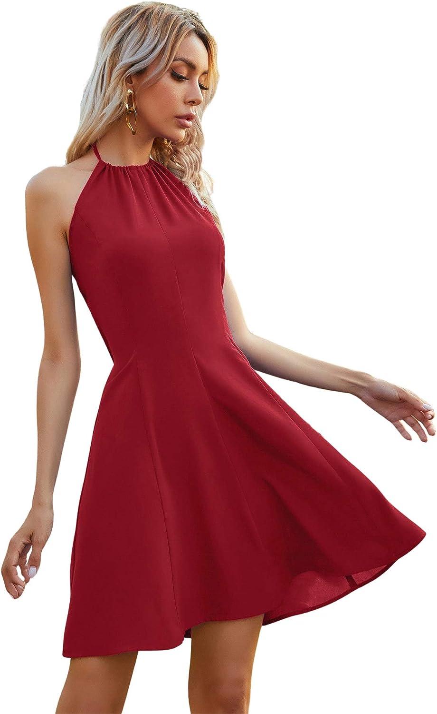 SheIn Women's Tie Open Back Sleeveless A Line Flare Short Mini Halter Dress