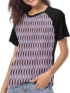 Short Sleeve Blouse,Abstract, Stripes S-XXL Print Short Sleeve Baseball Ladies Tee