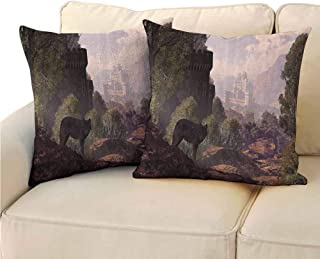 QIAOQIAOLO Pack of 2 Printed Pillowcase Woodland Decor Comfortable and Soft 20x20 inch A Wolf Coming Out of The Woods with A Gothic Castle Lake Boat Off in The Distance