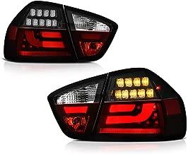 [4-Piece] VIPMOTOZ Black Bezel Premium OLED Neon Tube LED Tail Light Housing Lamp Assembly For 2006-2008 BMW E90 3-Series Sedan Driver and Passenger Side Replacement Pair