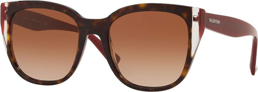 Valentino, occhiali da sole ovali per donna, montatura in acetato leggero, avana / bordeaux VA4040_Parent