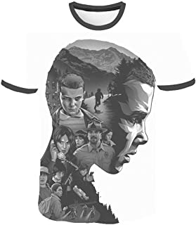 Camiseta Stranger Things Niño, Camiseta Stranger Things Niña Unisex Impresión 3D Manga Corta T Shirt Hombre Abecedario Imp...