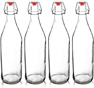 YEBODA Clear Glass Bottles with Stopper For Home Brewing Beer Kombucha Kefir & Airtight Silicone Seal 32 oz(4 Set)