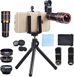 Apexel 4 in 1 12x Zoom Telephoto Lens + Fisheye + Wide Angle + Macro Lens with Phone Holder + Tripod for iPhone X/8/7 /6/6...