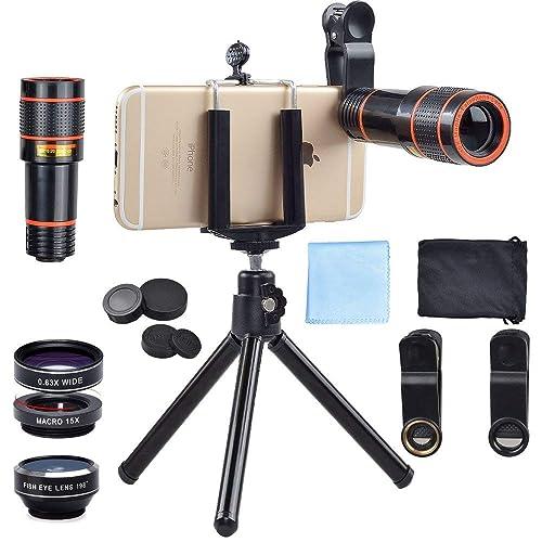 Lot d'objectifs pour Appareil Photo de Smartphones avec trépied, pour iPhone, Samsung, Huawei, et Autres Marques, par Apexel