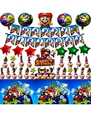 Super Mario Birthday Party Supplies, Including Happy Birthday Banner, Cake Topper, Tablecloth, foil Balloons, Super Mario Theme Party Decorations.