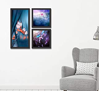 Go Hooked Digital Printed Framed Floral Wall Art Painting for Living Room, Bedroom, Office, Hotel, Dining Room, Bar (Set o...