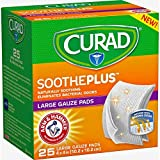 Curad SoothePlus Large Gauze Pads, 4' x 4', 25 Count