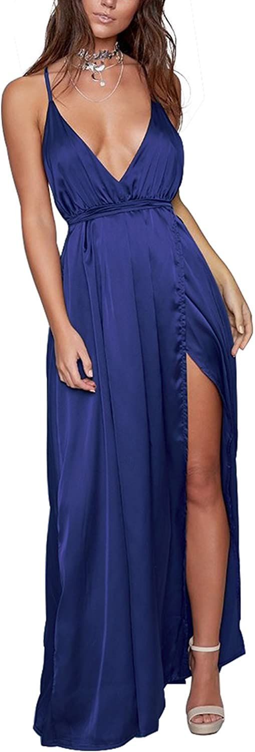 Yimeili Women's Sexy Deep V Neck Backless Split Maxi Cocktail Long Party Dresses(30Color S-XXL)