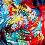 DIY Pintura por Números Animal Pintura Al Óleo Regalos para Niños Adultos Decoración De La Pared Art Pintura por Números Kit 40*50 Cm -Cebra(Sin Marco)