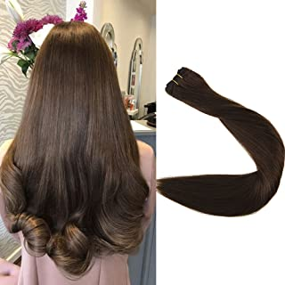 Full Shine 100% Real Remy Human Hair Weft 20 inch Full Head Double Wefted Straight Solid Hair Weft Bundles Color #4 Brown 100gram Per Package