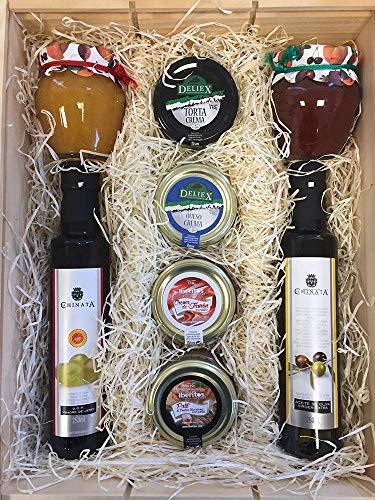 Set Gourmet para regalo Navideño con crema de queso para untar, crema de torta, jamón curado para untar, aceite de oliva virgen extra, vinagre de jerez en 250 ml y mermeladas naturales