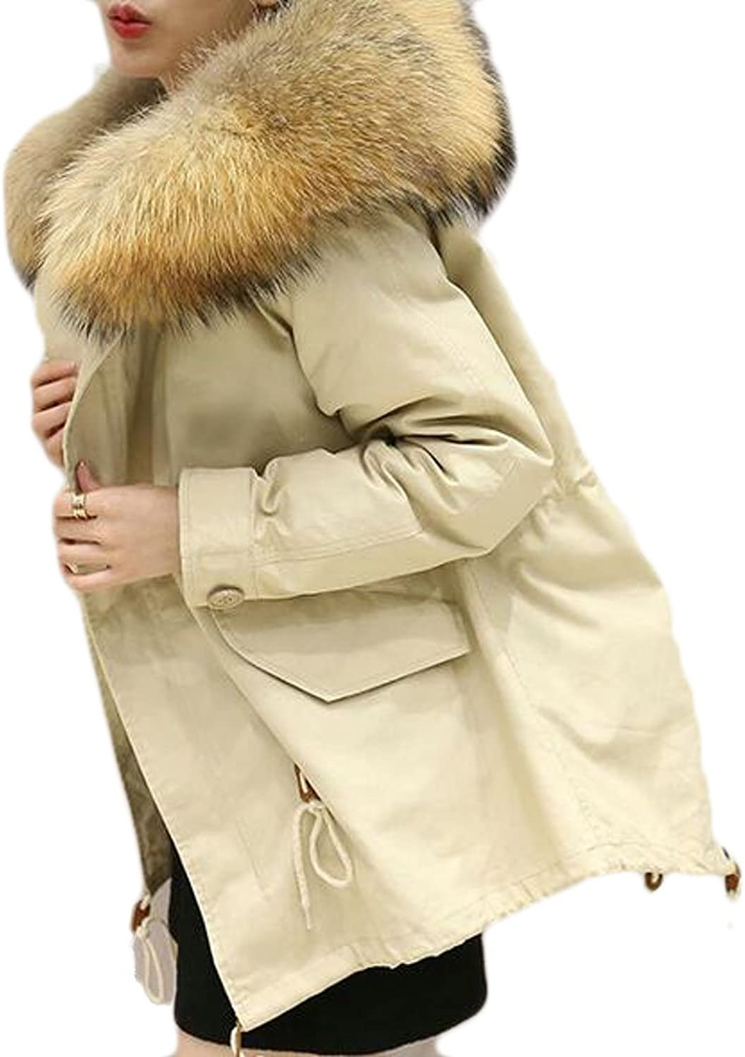HTOOHTOOH Women's Winter Faux Fur Hoodie Thick Warm CottonPadded Jacket
