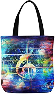 InterestPrint Beautiful Abstract Colorful Music Notes and Violin Clef Canvas Tote Bags Reusable Shopping Bags Grocery Bags Party Supply Bags for Women Men Kids