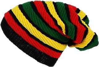 Itzu Oversized Slouch Rasta Stripes Beanie Hat Black Green Yellow Red
