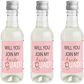 Pack of 12 Bride/'s Last Ride Personalised Mini Wine Bottle Labels