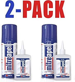 MITREAPEL Super CA Glue (3.5 oz.) with Spray Adhesive Activator (13.5 fl oz.) - Crazy Craft Glue for Wood,Plastic,Metal,Leather,Ceramic - Cyanoacrylate Glue for Crafting and Building AC200 (2 Pack)