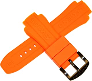 Swiss Legend 19MM Orange Silicone Rubber Watch Strap & Black Stainless Buckle fits 52mm Neptune Watch