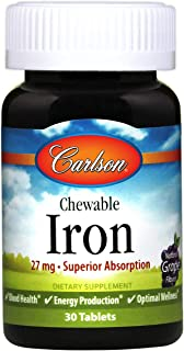Carlson Chewable Iron 27 mg, Grape, Blood Health, 30 Tablets