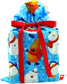 North Pole Buddies Reusable Christmas Gift Bag - Santa, Snowman, Reindeer on Blue Fabric (Standard 10 Inches Wide by 15 Inches High)