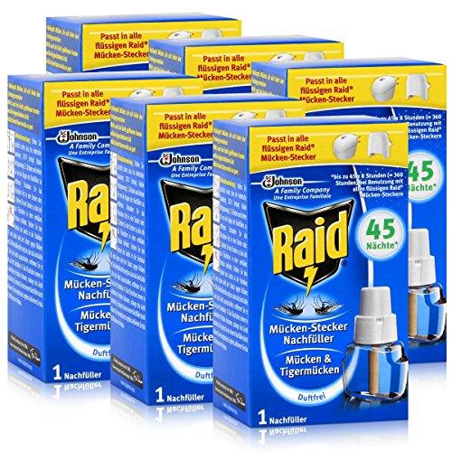 Raid Mücken-Stecker Nachfüller - Gegen Mücken & Tigermücken - Schützt bis zu 45 Nächte, jeweils 8 Stunden - Schnelle und langanhaltende Wirkung - Duftfrei (6er Pack)