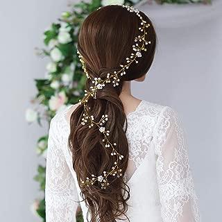 Yean Wedding Hair Vine Long Bridal Headband Hair Accessories for Bride and Bridesmaid (100cm / 39.3inches) (Gold)