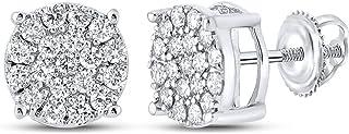 FB جواهر الذهب الأبيض 10kt رجل جولة الماس العنقودية أقراط 3/8 Cttw