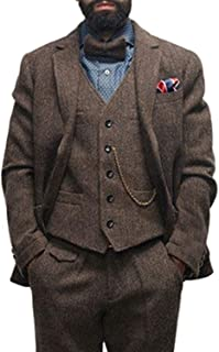 Men's Custom Herringbone Suit 3 Piece Tweed Wedding Tuxedo Blazer Jacket Pants Vest