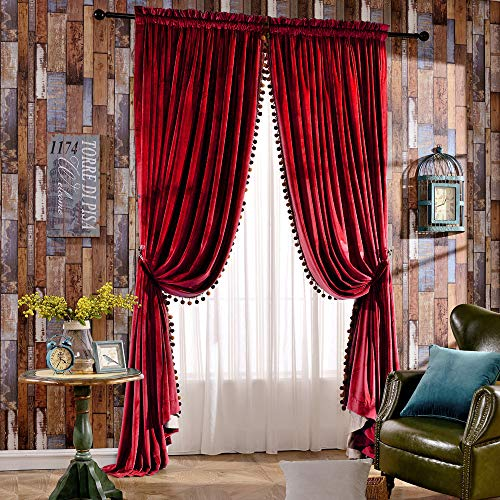 Melodieux Luxury Pom Poms Velvet Curtains for Bedroom Living Room Thermal Insulated Rod Pocket Drapes, 52 by 84 Inch, Red (1 Pair)