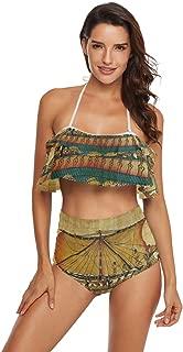 Ancient Egyptian Culture Womens 2 Piece Swimsuit Flounce Swimwear Halter Tankini Bikini