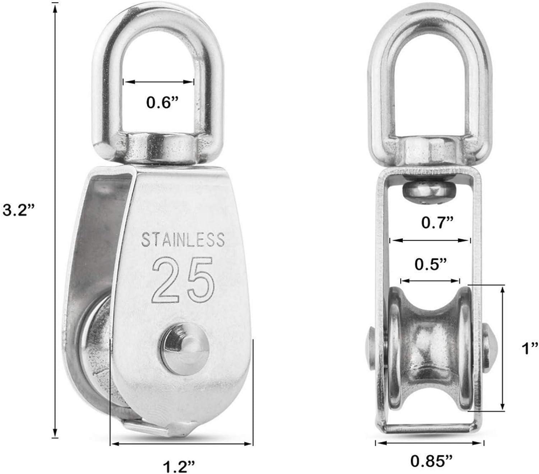 Silber Flaschenzug Einzelsatz in Edelstahl 304 3Pack 25MM Umlenkrolle Tragkraft 400kg Schalen Riemenscheibe Roller f/ür Seile