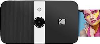 KODAK Smile Cámara digital de impresión instantánea – Cámara de 10MP que abre al deslizarse c/impresora 2x3 ZINK Pantalla Enfoque fijo Flash automático y edición de fotos – Negra/Blanca