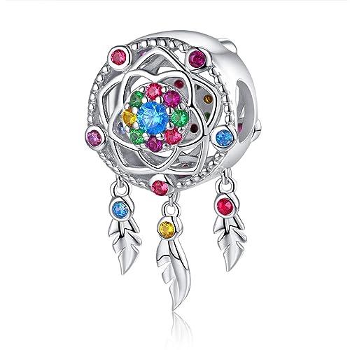 ec6976380 Dream Catcher Charm Genuine 925 Sterling Silver Dangle Heart Radiant CZ  Crystal Bead fit Original Charm