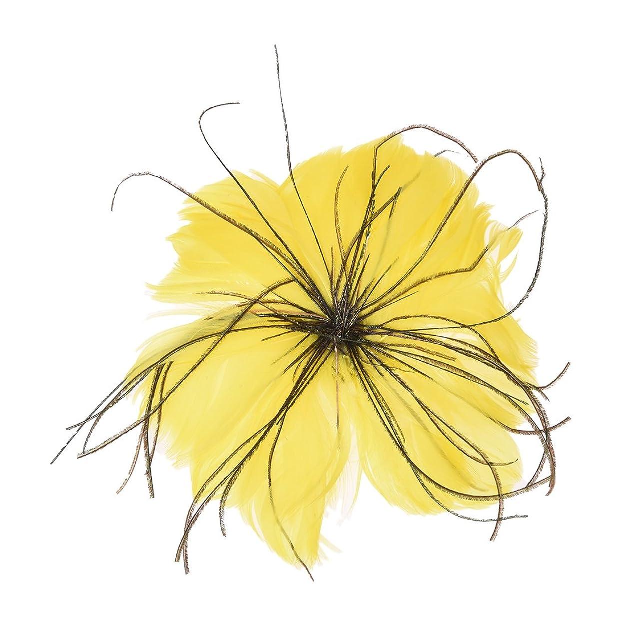 偽善厚さ眉をひそめるCUHAWUDBA フェザーコサージュデコレーション(黄色)