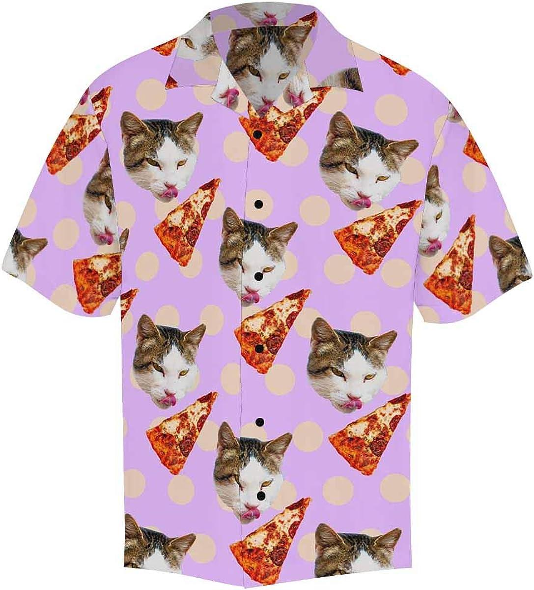 InterestPrint Men's Casual Button Down Short Sleeve Cute Funny Dog Hawaiian Shirt (S-5XL)