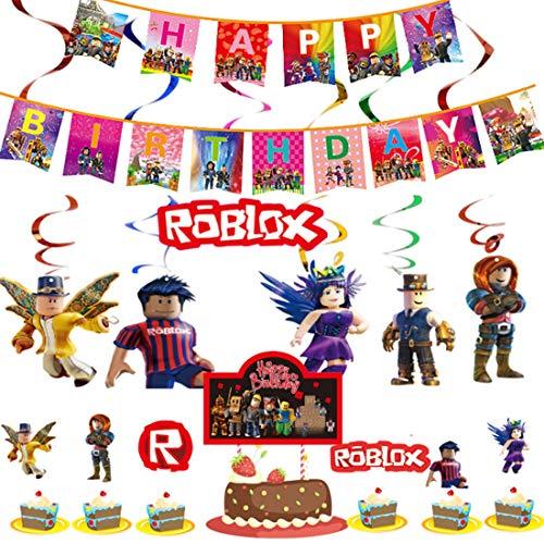 WENTS Roblox festtillbehör Roblox hängande virveldekorationer glad Bithday banderoll tv-spel tårtdekorationer barn födelsedagsfest dekorationer för födelsedagsfest, skolfest, spelnatt