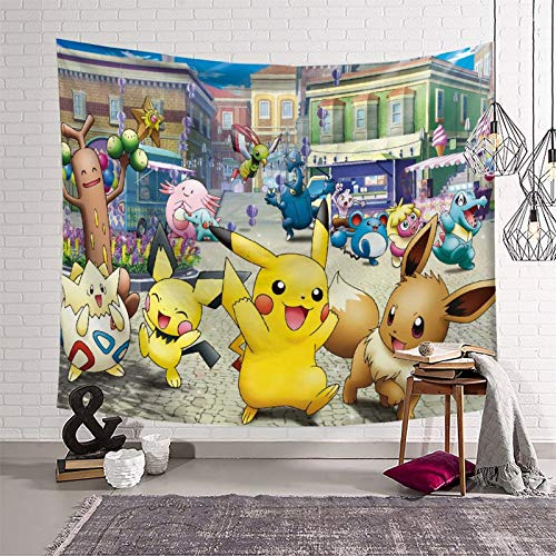SSKJTC Tapices para colgar en la pared, diseño de Pokémon Manga de animación en blanco y negro, 130 x 150 cm