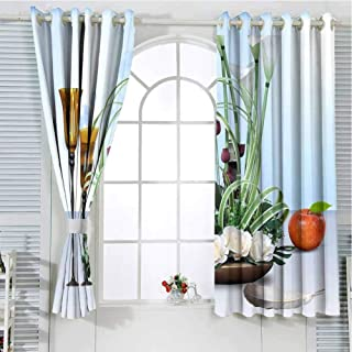 GOMAE Grommet Curtain Ancient lamp and Green Pot.jpg
