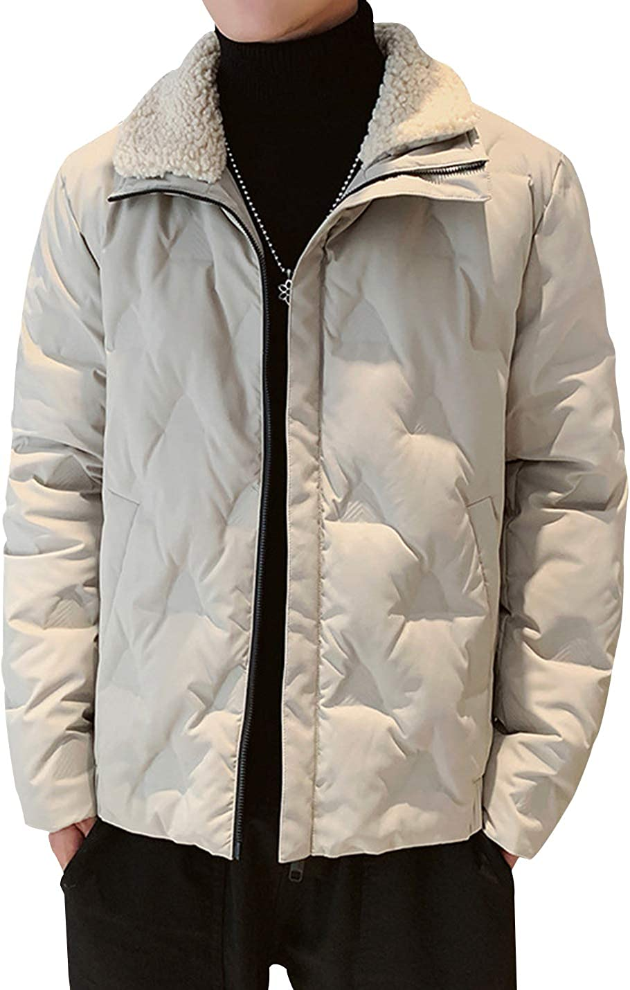 Gihuo Men's Thick Casual Padded Quilted Puffer Jacket Outerwear