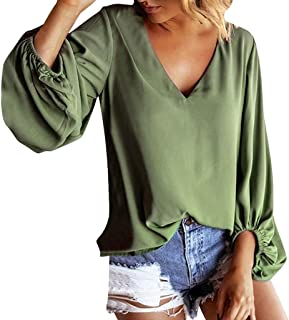 Womens Tops,Fashion Women Solid V-Neck Lantern Sleeve Loose Casual Pullovers Top Blouse