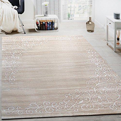 Paco Home Alfombra De Diseño con Estampado Floral E Hilo Brillante Mezclada En Blanco Y Crema, tamaño:60x110 cm