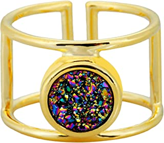 SUNYIK Natural Druzy Ring for Women, Titanium Coated Crystal Drusy Adjustable Knuckle Finger Rings for Unisex