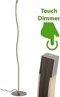 Briloner Leuchten 1374–012–Lámpara de pie LED (, curvas–Lámpara de pie (2Luces, regulable, 1800lm, metal, 17.3W, níquel mate