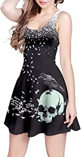 Womens Sugar Skull Flowers Floral Skeleton Mexican Day of Dead Roses Cosplay Sleeveless Skater Dress, XS-5XL