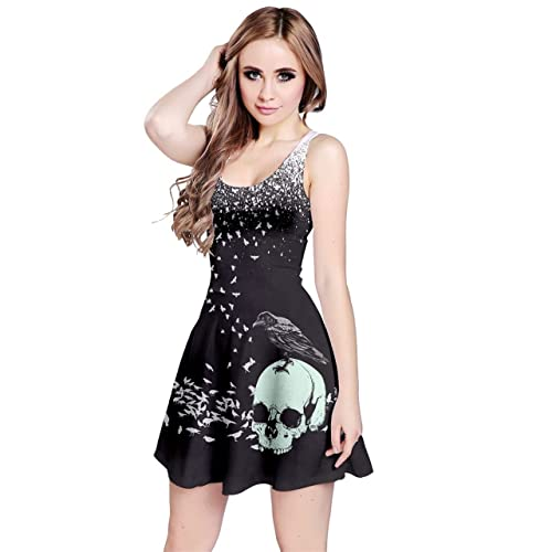 3f17cf32ad1c CowCow Womens Grunge Skulls Skeleton Bones Horror Creepy Weirdo Scarry  Gothic Dark Sleeveless Dress