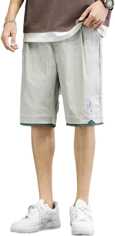 Segindy Men's Fashion Stitching Sports Shorts Summer Trend Wild Loose Comfortable